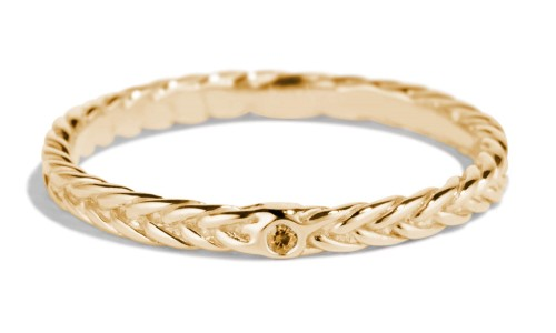 Fishtail Apricot Sapphire Band in 14kt Yellow Gold