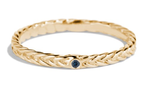 Fishtail Blue Sapphire Band in 14kt Yellow Gold