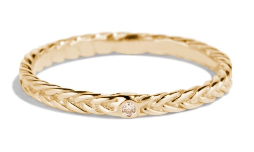 Fishtail Champagne Diamond Band in 14kt Yellow Gold