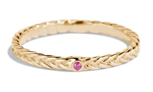 Fishtail Fuchsia Sapphire Band in 14kt Yellow Gold