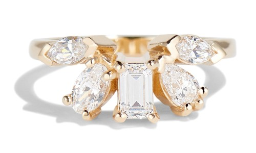 Fringe Cluster Diamond Ring in 14kt Yellow Gold