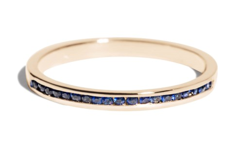 Channel Half Blue Sapphire Narrow Band in 14kt Yellow Gold