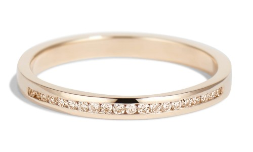 Channel Half Champagne Diamond Narrow Band in 14kt Yellow Gold