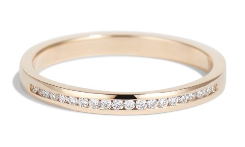 Channel Half Diamond Narrow Band in 14kt Yellow Gold
