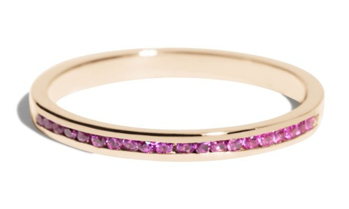 Channel Half Fuchsia Sapphire Narrow Band in 14kt Yellow Gold