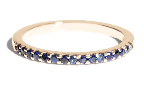 Eternity Half Blue Sapphire Band in 14kt Yellow Gold
