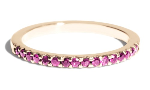 Eternity Half Fuchsia Sapphire Band in 14kt Yellow Gold