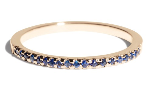 Eternity Half Blue Sapphire Narrow Band in 14kt Yellow Gold