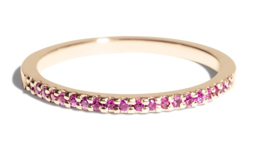 Eternity Half Fuchsia Sapphire Narrow Band in 14kt Yellow Gold