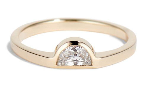 Half-Moon 5mm x 3mm White Sapphire Ring in 14kt Yellow Gold