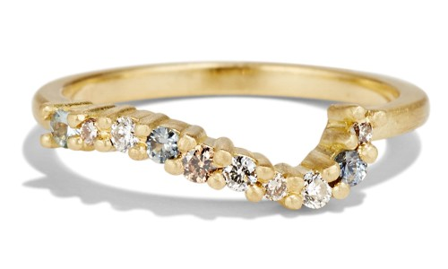 Radial Cluster Diamond with Blue Sapphire Band in 18kt Yellow Gold