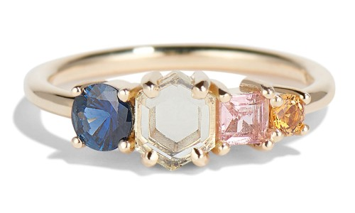 Linear Hex Sapphire Ring in 14kt Yellow Gold