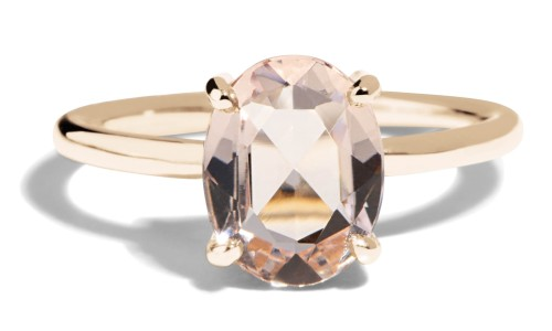 Kalmia Rose Cut Morganite Ring in 14kt Yellow Gold