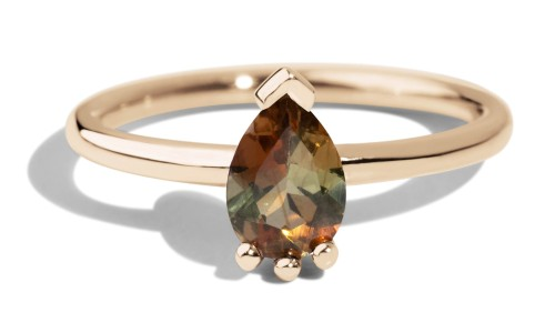 Lash Andalusite Pear Ring in 14kt Yellow Gold