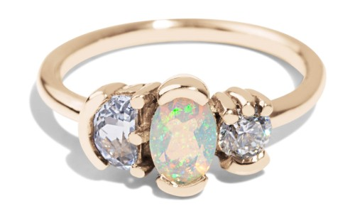 Lash Cluster Triad Opal Ring in 14kt Yellow Gold