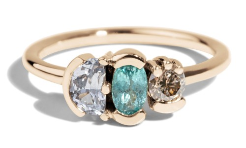 Lash Cluster Triad Paraiba Ring in 14kt Yellow Gold