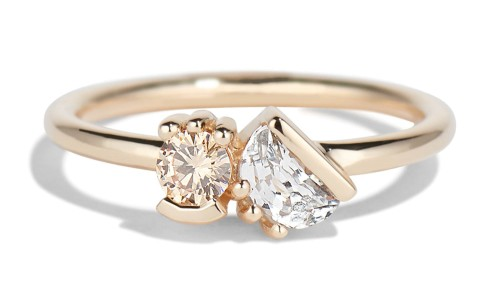 Lash Cluster Dyad Champagne Diamond Ring in 14kt Yellow Gold