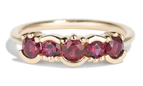 Lash Linear Garnet Ring in 14kt Yellow Gold