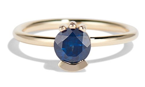 Lash 5.5mm Blue Sapphire Ring in 14kt Yellow Gold