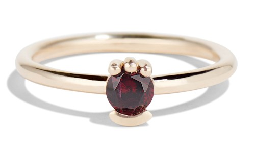 Lash 4mm Garnet Ring in 14kt Yellow Gold