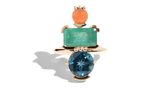 Lash Vertical Rectangular Cut Emerald, Carnelian, and Blue Topaz Cluster Ring