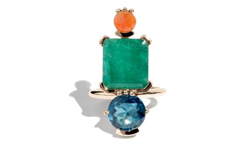 Lash Vertical Square Cut Emerald, Carnelian, and Blue Topaz Cluster Ring