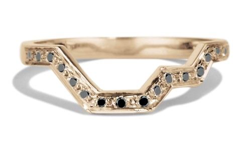 Linea Black Diamond Band in 14kt Yellow Gold
