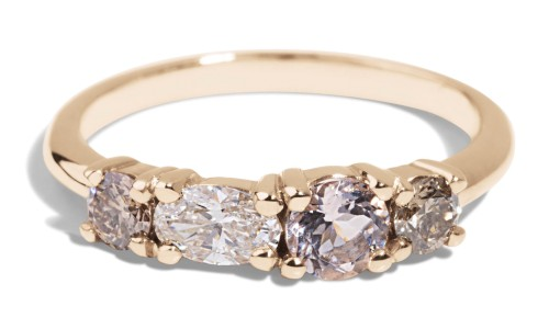 Linear Diamond with Morganite Ring in 14kt Yellow Gold