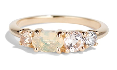 Linear Opal Ring in 14kt Yellow Gold