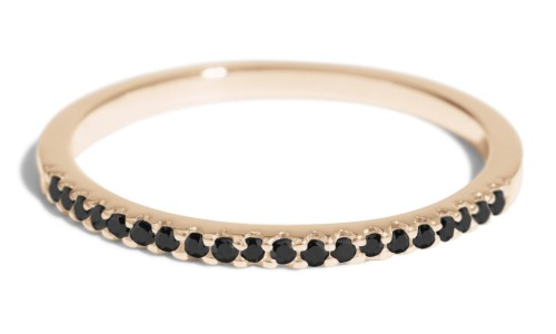 Eternity Half Black Diamond Narrow Band in 14kt Yellow Gold