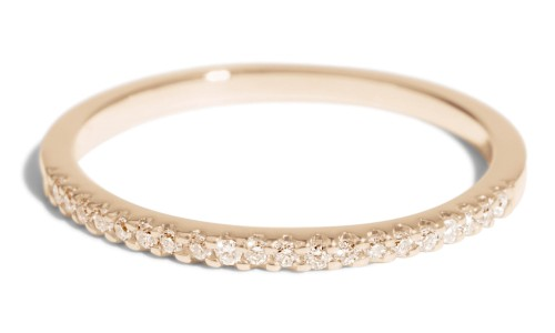 Eternity Half Champagne Diamond Narrow Band in 14kt Yellow Gold