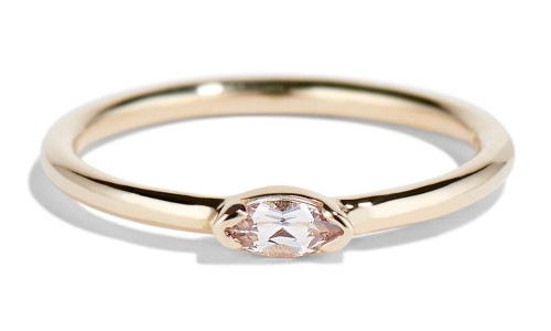 Nikko Mini 5mm x 2.5mm Morganite Marquise Ring in 14kt Yellow Gold