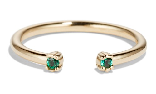 Open Lash Mini Emerald Ring in 14kt Yellow Gold