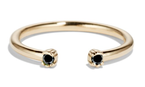 Open Lash Mini Black Diamond Ring in 14kt Yellow Gold