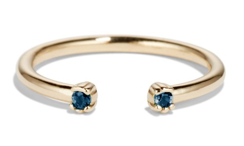 Open Lash Mini Blue Sapphire Ring in 14kt Yellow Gold