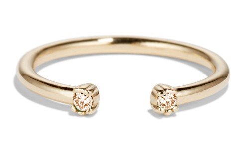 Open Lash Mini Champagne Diamond Ring in 14kt Yellow Gold