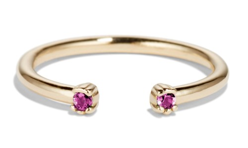 Open Lash Mini Fuchsia Sapphire Ring in 14kt Yellow Gold