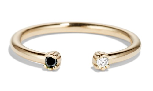Open Lash Mini Black and White Diamond Ring in 14kt Yellow Gold