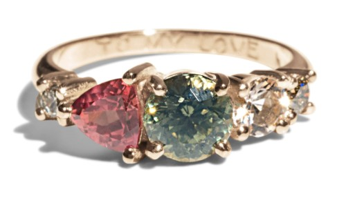 Custom Bi-color Sapphire and Pink Trillion Sapphire Linear Cluster Ring