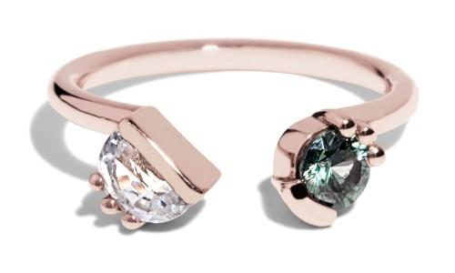 Custom Open Lash Half-Moon Sapphire and Blue-Green Sapphire Ring