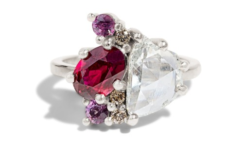 Custom Diamond and Ruby Cluster Ring