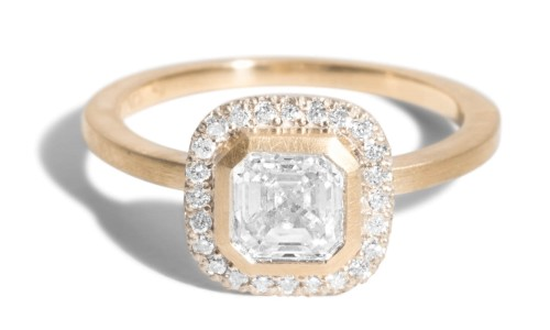 Custom Quince 0.75ct Asscher Cut Diamond Halo Ring