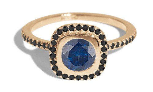 Quince 5.5mm Blue Sapphire with Black Diamond Halo Ring in 14kt Yellow Gold