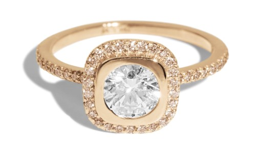 Quince .50ct Diamond with Champagne Halo Ring in 14kt Yellow Gold
