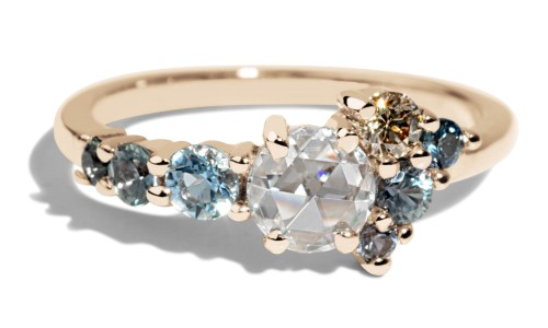 Radial Cluster Rose Cut Diamond with Blue Sapphire Ring in 14kt Yellow Gold