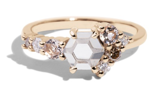 Radial Cluster Hex White Sapphire Ring in 14kt Yellow Gold