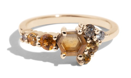 Radial Cluster Hex Yellow Sapphire Ring in 14kt Yellow Gold