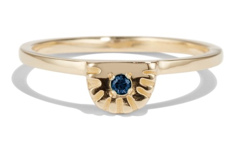 Ray Fringe Blue Sapphire Ring in 14kt Yellow Gold