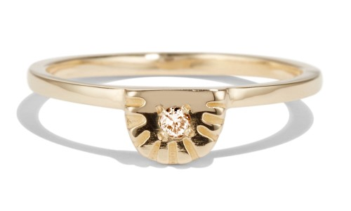 Ray Fringe Champagne Diamond Ring in 14kt Yellow Gold