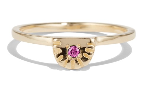 Ray Fringe Fuchsia Sapphire Ring in 14kt Yellow Gold